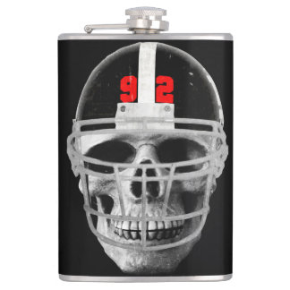 Football skull hip flask