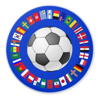 FOOTBALL SOCCER 2018 TEAM FLAGS SYMBOL CIRCLE CERAMIC KNOB