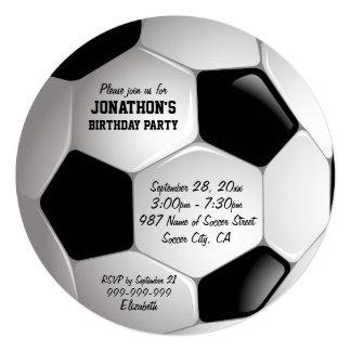"Football Soccer Ball Birthday Party 5.25"" Square Invitation Card"