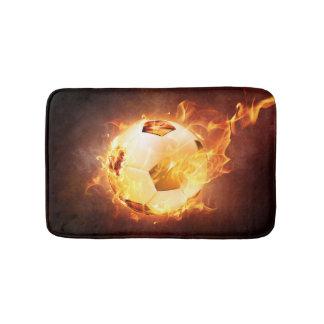 Football Soccer Ball on Fire Bathroom Mat