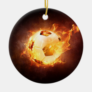Football Soccer Ball on Fire Ceramic Ornament