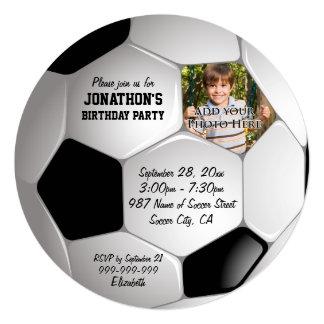 "Football Soccer Ball Photo Birthday Party 5.25"" Square Invitation Card"