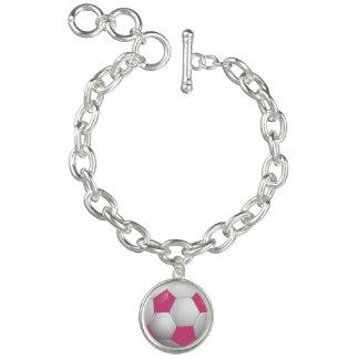 Football Soccer Ball Pink and White Bracelets