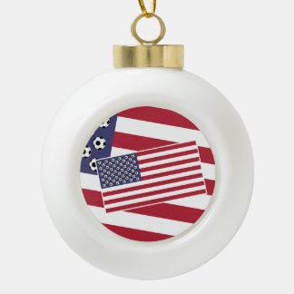 Football Soccer USA Flag Ceramic Ball Ornament
