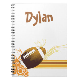 Football Sports Ball Game Personalized Name Spiral Notebook