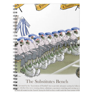 football substitutes blue white stripes notebook