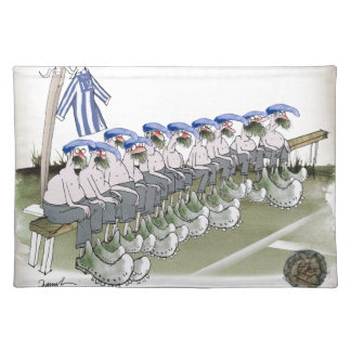 football substitutes blue white stripes placemat