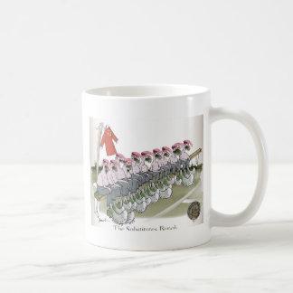 football-substitutes red teams coffee mug