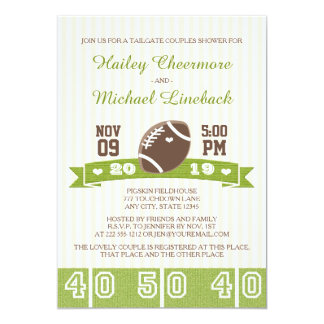 "FOOTBALL TAILGATE COUPLES WEDDING SHOWER 5"" X 7"" INVITATION CARD"