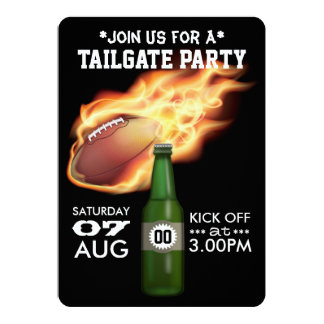 Football Tailgate Party Personalized Black Invite