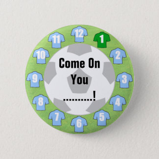 Football Team Badge with Light Sky Blue Shirts 2 Inch Round Button