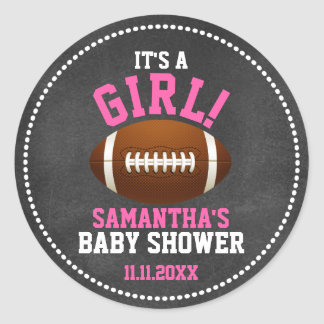 Football Theme Baby Shower Chalkboard GIRL Classic Round Sticker