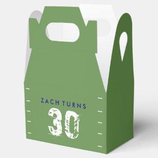 Football Theme Birthday Favor Boxes - Green Blue