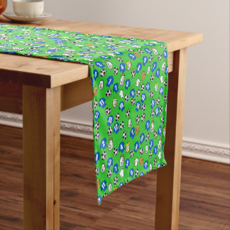 Football Theme with Blue Shirts Short Table Runner