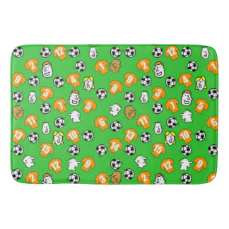 Football Theme with Shirts in Orange Gold Bath Mat