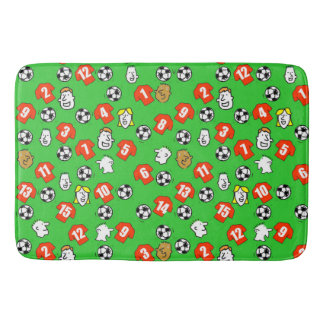 Football Theme with Shirts in Red Bath Mat