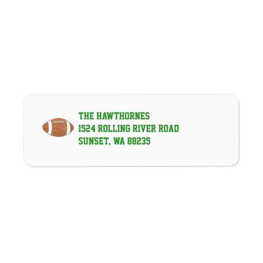 Football themed return address label