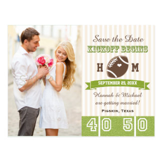 Football Themed Wedding Save the Date Postcard