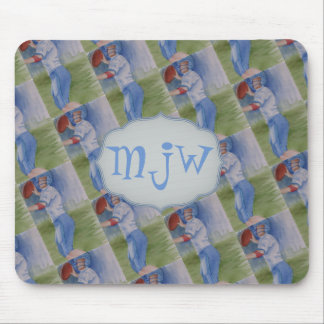 FOOTBALL TOUCHDOWN PASS MONOGRAM MOUSE PAD