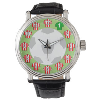 Football Watch - with Red Striped Shirts