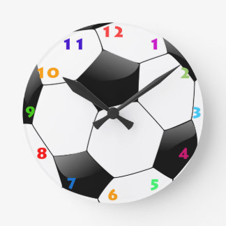 FOOTBALL WITH COLORFUL NUMBERS ROUND CLOCK