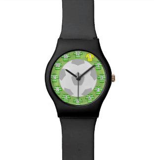 Football Wristwatch Green & White hooped Shirts