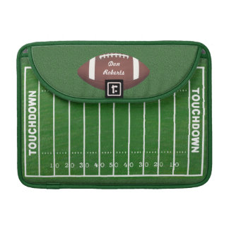 Football & Yardage Markings on a Green Grass Field Sleeve For MacBooks