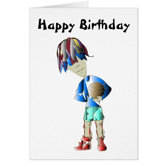 Footballer Art Birthday Greeting Card