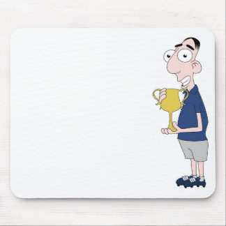 Footballer holding trophy mouse pad