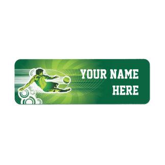 Footballeur 1 étiquettes d'adresse retour