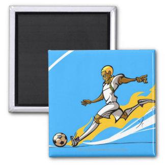 Footballeur donnant un coup de pied un ballon de magnet carré