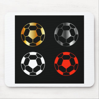 Footballs on black background mouse pad