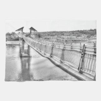 Footbridge over the North Saskatchewan River Kitchen Towel