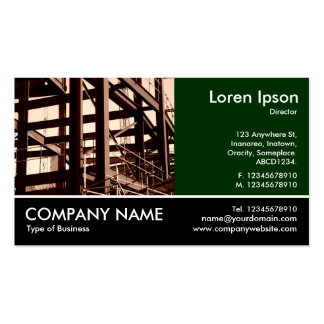 Footed Photo - Dk Green - Steel Frame Construction Business Card Template