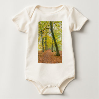 Footpath in forest covered with fallen leaves baby bodysuit