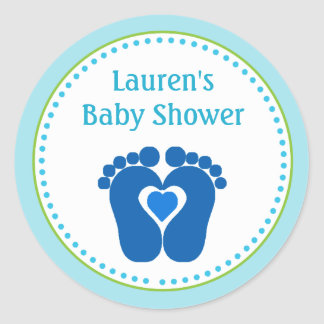Footprint Boy Baby Shower Favor Tag Stickers