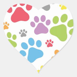 Footprint Dog Heart Sticker