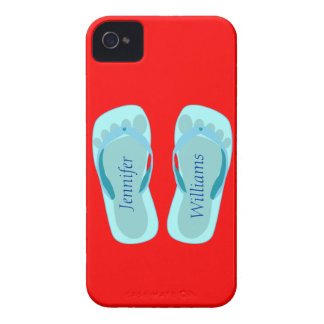 Footprint Flip Flops on Red Custom Name iPhone 4 Case-Mate Cases