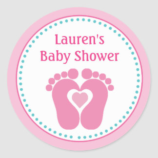 Footprint Girl Baby Shower Favor Tag Stickers