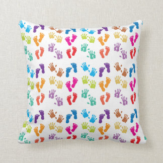 Footprint Hand Print Feet Colorful Bold Baby Throw Pillow