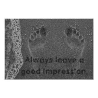 Footprint Impressions in the Sand Poster