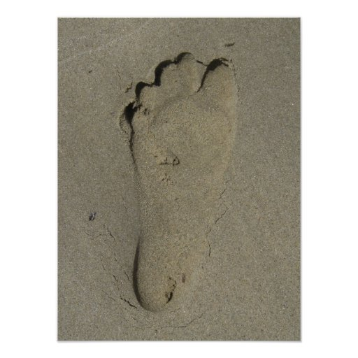 Footprint in the Sand Close-up Poster