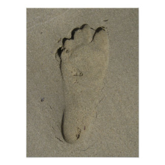 Footprint in the Sand Close-up Posters