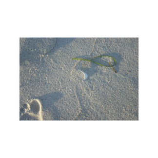 Footprint in the Sand Shell Seaweed Beach Canvas
