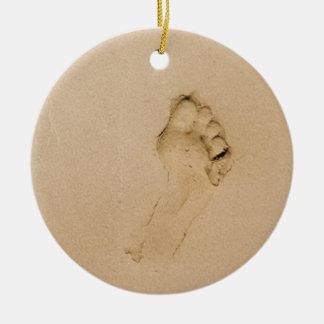 Footprint on the Beach Ceramic Ornament