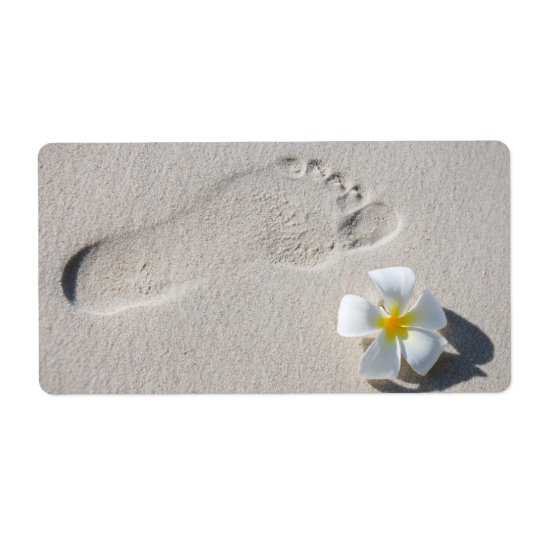 Footprint on the sand shipping label