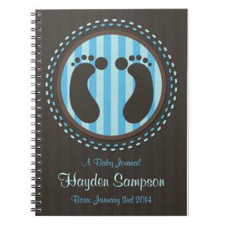 Footprints Baby Journal Notebook - Blue