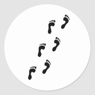 footprints classic round sticker