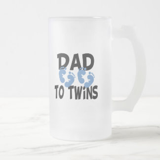 Footprints Dad to Twins Frosted Glass Beer Mug