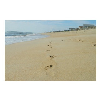 Footprints Down The Beach Poster